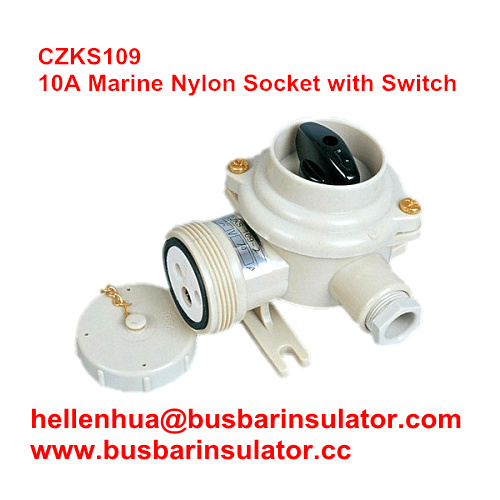10A watertight plastic CZKS202 1144/R/FS marine rotary switch and socket