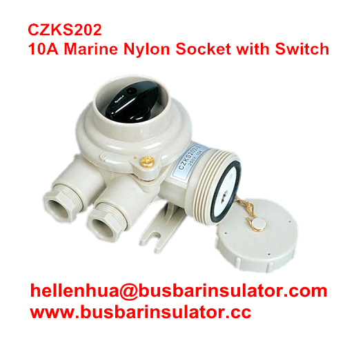 10A marine nylon socket with switch CZKS109 1144/R/FS Rotary switch