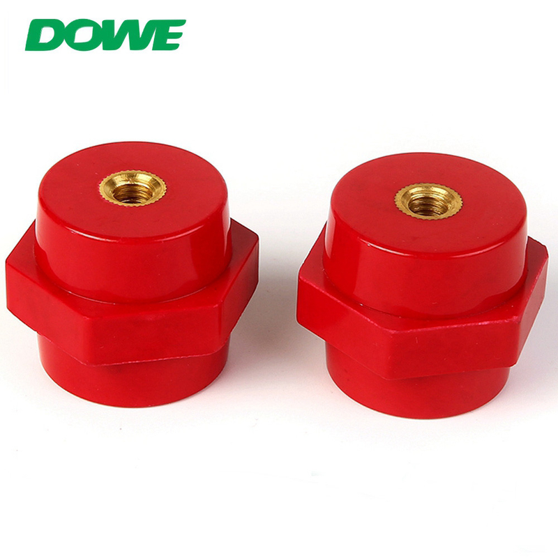 M8 height 20mm red hexagonal busbar insulator with types of insulator low voltage wire holder insulator