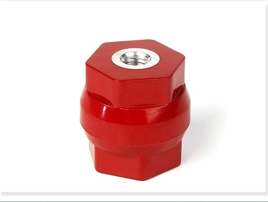 China Durm type electrical busbar insulator connector M10*40mm PF material red colour distributor